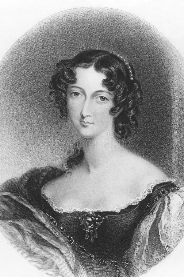 Sarah Villiers. Countess of Jersey (1785-1867) on engraving from the 1800s. English noblewoman. Engraved by H.T.Ryall after a drawing by E.T.Parris and stock photography