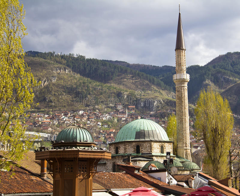 Sarajevo. Famous fountain and mosque in old town, Bascarsija royalty free stock image