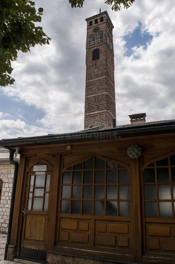 Sarajevo, Bósnia e Herzegovina, Bascarsija, torre de pulso de disparo, Sarajevska Sahat Kula, skyline, vista aérea, pulso de disp imagem de stock royalty free
