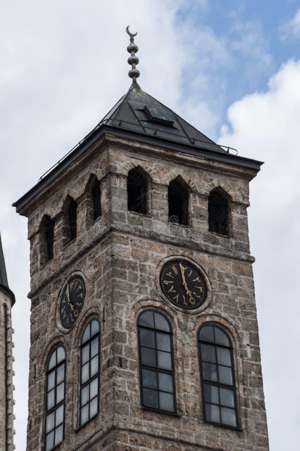 Sarajevo, Bósnia e Herzegovina, Bascarsija, torre de pulso de disparo, Sarajevska Sahat Kula, skyline, vista aérea, pulso de disp foto de stock royalty free