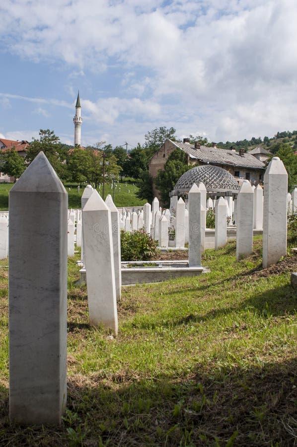 Sarajevo, Bósnia e Herzegovina, skyline, cemitério, Sehidsko Mezarje Kovaci, soldados, forças armadas, guerra bosniana, grama, vi fotos de stock