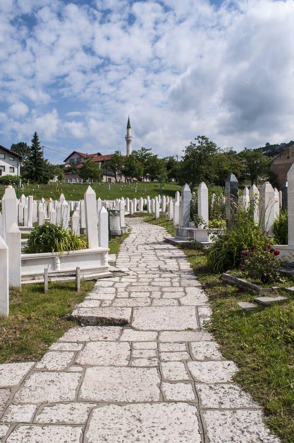 Sarajevo, Bósnia e Herzegovina, skyline, cemitério, Sehidsko Mezarje Kovaci, soldados, forças armadas, guerra bosniana, grama, vi imagens de stock