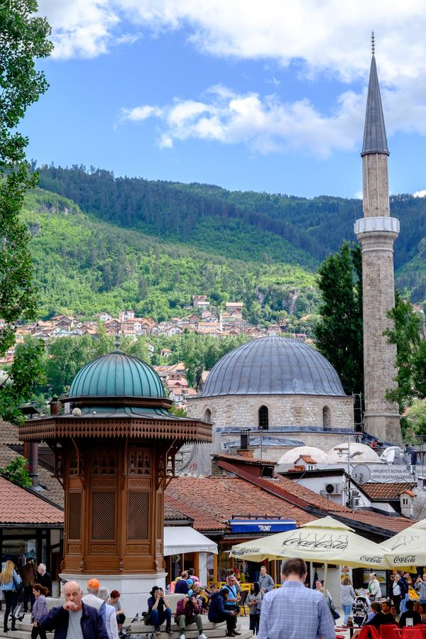 Sarajevo BaÅ ¡ Ä  arÅ ¡ ija, Bośnia i Herzegovina, zdjęcie stock