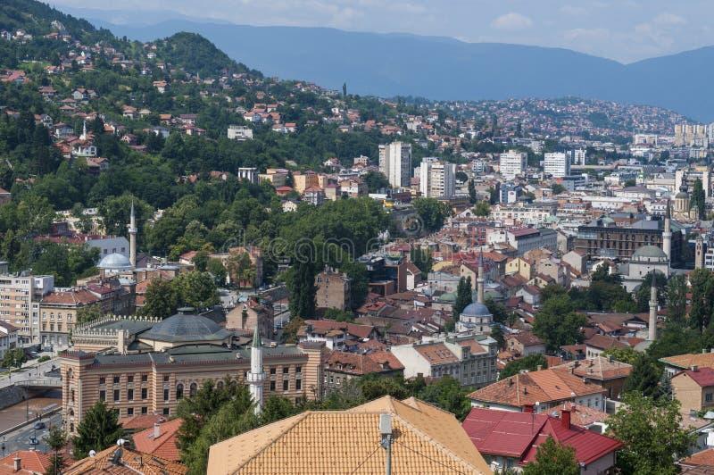 Sarajevo, Bo?nia i Herzegovina, widok z lotu ptaka, krajobraz, linia horyzontu, pejza? miejski, panoramiczny, punkt widzenia, Din zdjęcie royalty free