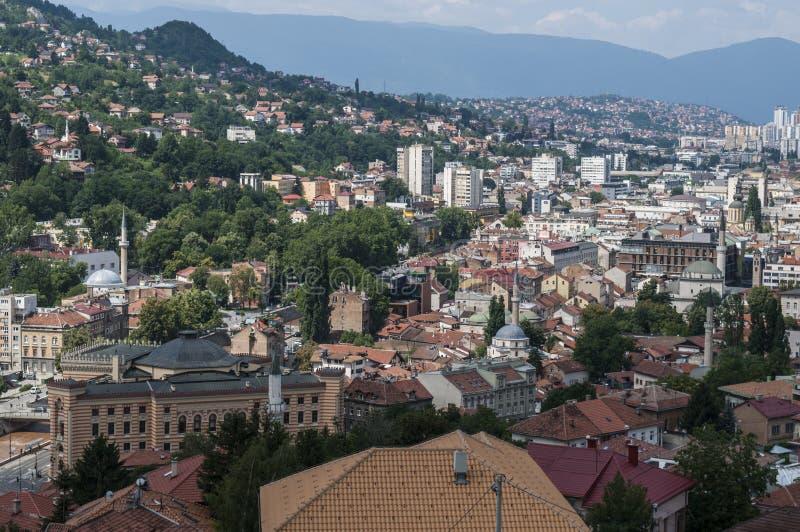 Sarajevo, Bo?nia i Herzegovina, widok z lotu ptaka, krajobraz, linia horyzontu, pejza? miejski, panoramiczny, punkt widzenia, Din zdjęcia royalty free