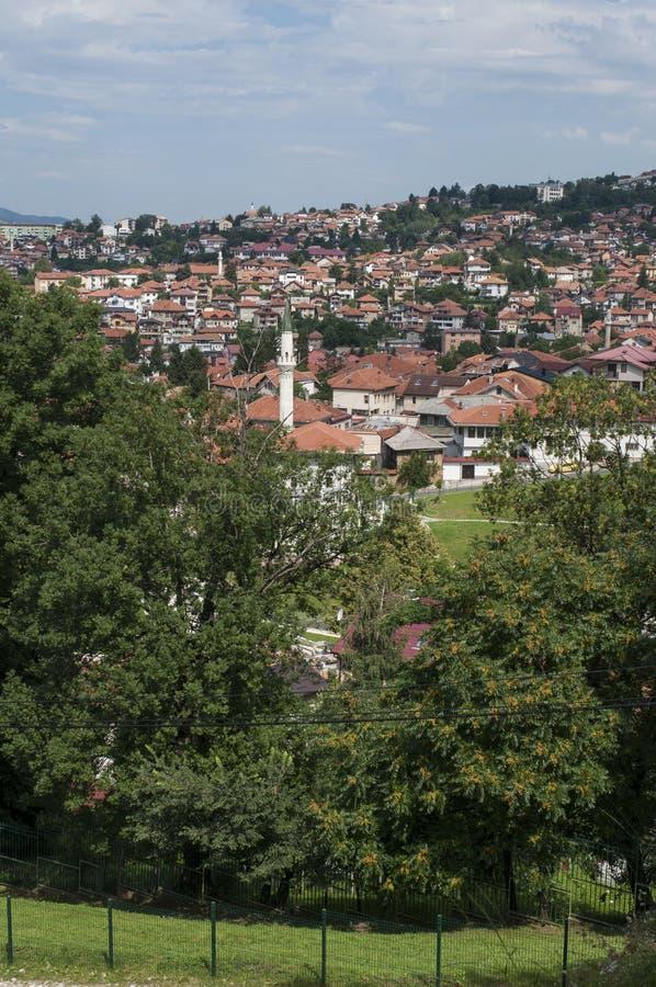 Sarajevo, Bo?nia i Herzegovina, widok z lotu ptaka, krajobraz, linia horyzontu, pejza? miejski, panoramiczny, punkt widzenia, Din obrazy stock