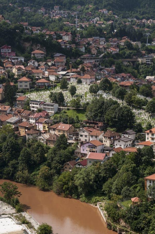 Sarajevo, Bo?nia i Herzegovina, widok z lotu ptaka, krajobraz, linia horyzontu, pejza? miejski, panoramiczny, punkt widzenia, Din fotografia stock