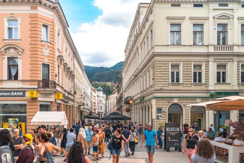 Sarajevo Streets in Bascarsija. SARAJEVO, BOSNIA - AUGUST 3, 2019 : Colorful Sarajevo streets in Bascarsija. The old town is most popular place for tourists stock image