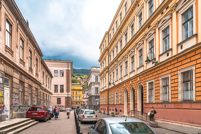 Sarajevo Streets in Bascarsija. SARAJEVO, BOSNIA - AUGUST 3, 2019 : Colorful Sarajevo streets in Bascarsija. The old town is most popular place for tourists stock images