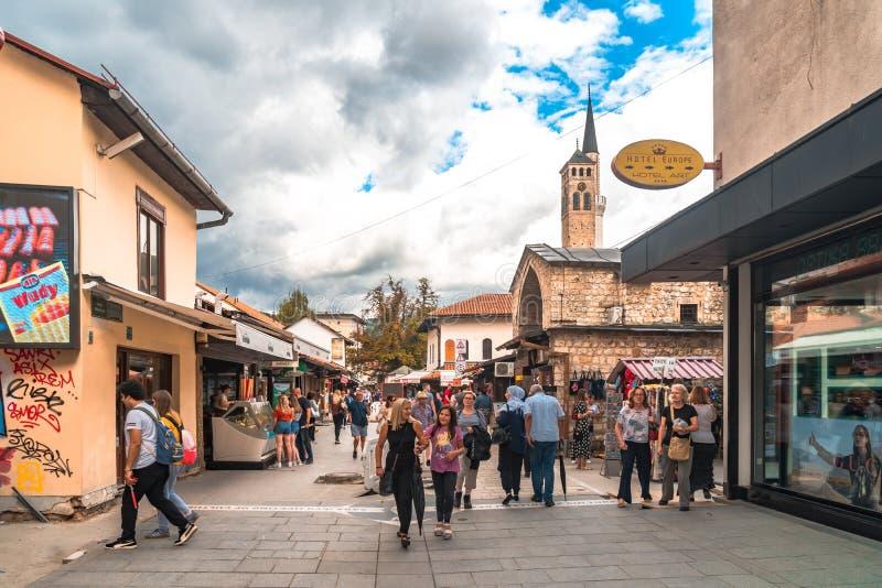 Sarajevo Streets in Bascarsija. SARAJEVO, BOSNIA - AUGUST 3, 2019 : Colorful Sarajevo streets in Bascarsija. The old town is most popular place for tourists stock photo