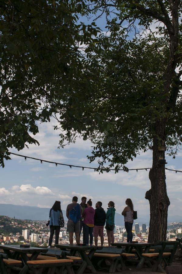 Sarajevo, Bosnia and Herzegovina, aerial view, landscape, skyline, cityscape, panoramic, viewpoint, Dinaric Alps, Miljacka River stock photography
