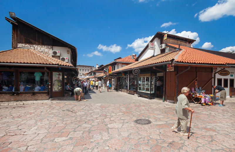 Sarajevo. BOSNIA AND HERZEGOVINA - AUG 11: Market area of Bascarsija on August 11, 2012 in , B&H. Bascarsija is an old market-place, historical and cultural royalty free stock photo