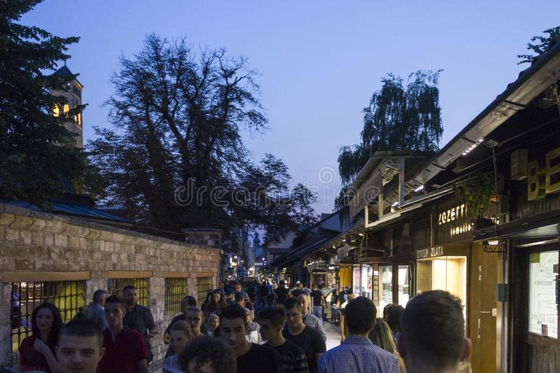 People at night in Sarajevo city centre royalty free stock photography