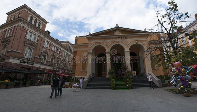 Sarajevo, Bosnia and Herzegovina, skyline, food, market, Gradska Trznica Markale, City Market, square. Sarajevo, Bosnia and Herzegovina: the building of Gradska stock photography