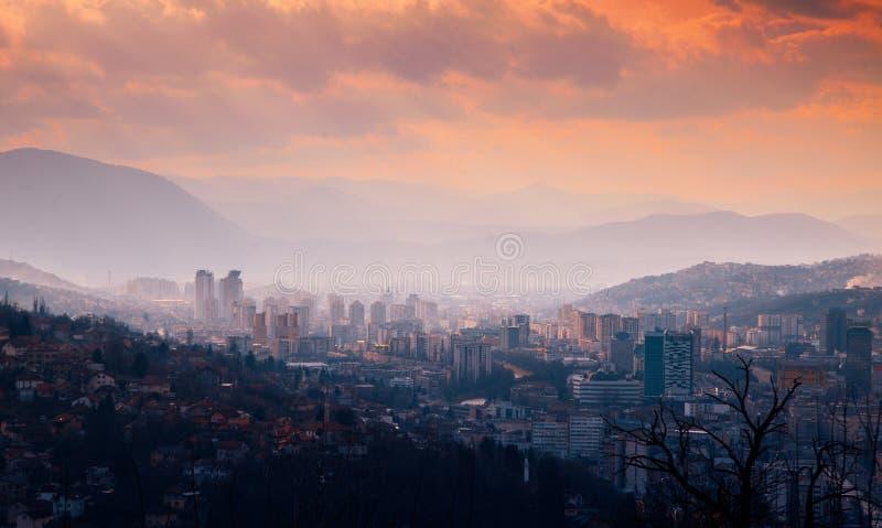 Sarajevo. Bosnia and herzegovina. Central Europe. Balkans. Sunset in sarajevo, Bosnia and Herzegovina. Sarajevo. Bosnia and herzegovina. Central Europe. Balkans stock image