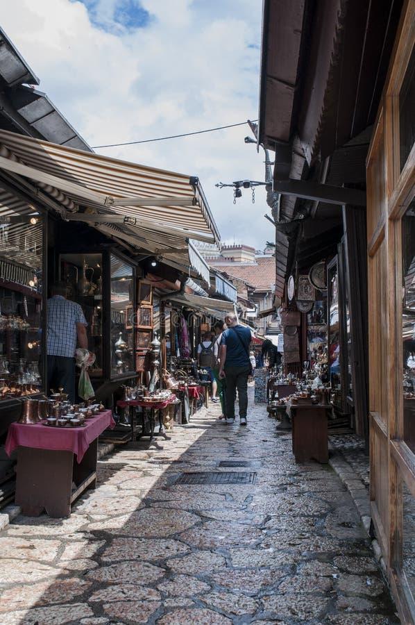 Sarajevo, Bosnia and Herzegovina, Bascarsija, Coppersmith Street, store, shopping, souvenir, old town, skyline, bazaar, market. Sarajevo, Bosnia and Herzegovina stock photos