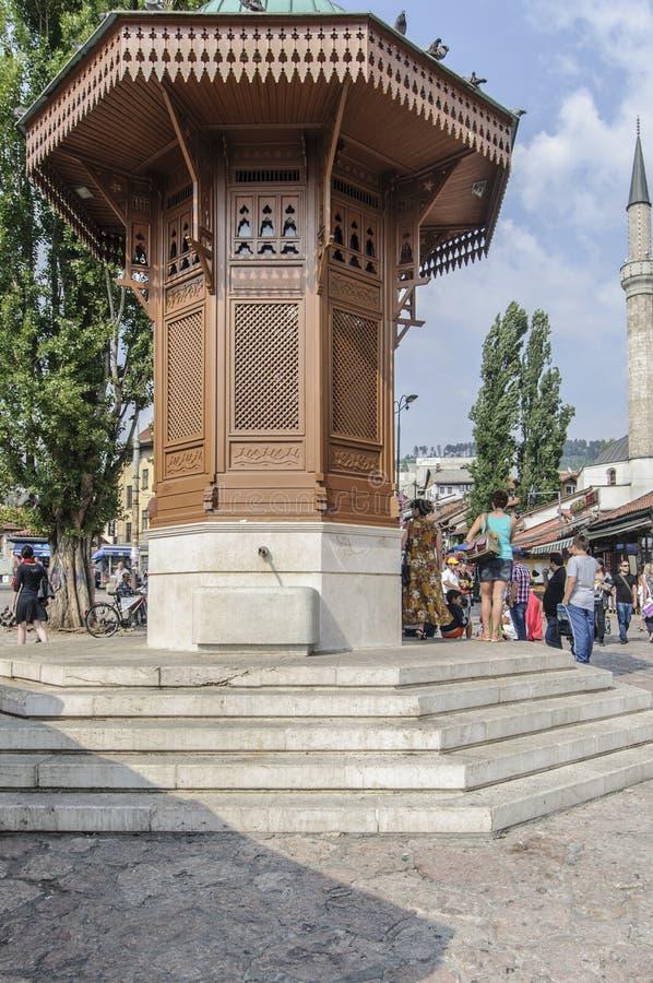 Sarajevo, bosnia and herzegovina, europe, the market square fountain. View of the market square fountain in the turkish quarter of sarajevo stock photo