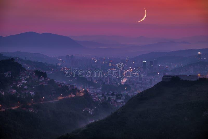 Arabian Moon On Sarayevo Cityscape At Twilight, Bosnia And Herzegovina royalty free stock image