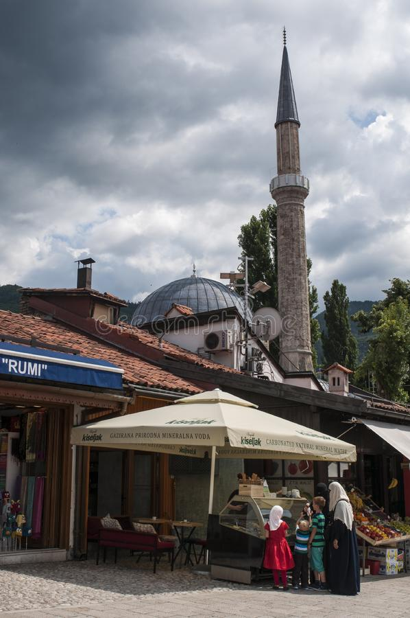 Sarajevo, Bosnia and Herzegovina, Bascarsija, neighborhood, old town, district, square, mosque, minaret, skyline, bazaar, market. Sarajevo, Bosnia and royalty free stock photo