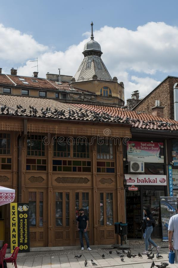 Sarajevo, Bosnia and Herzegovina, Bascarsija, neighborhood, old town, district, square, mosque, minaret, skyline, bazaar, market. Sarajevo, Bosnia and royalty free stock photos