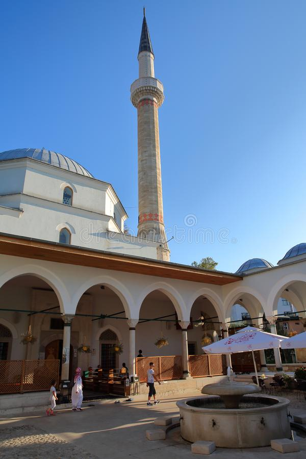 The internal courtyard of Emperor`s Mosque, located in Bistrik district royalty free stock photography