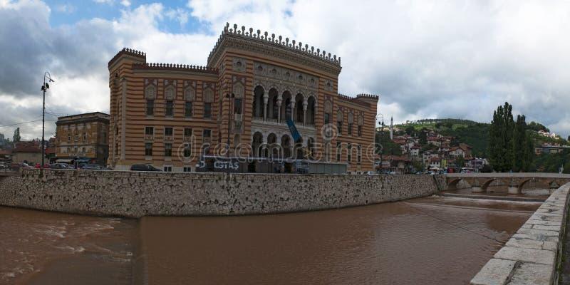 Sarajevo, Bosnia and Herzegovina, skyline, Vijecnica, national library,  Sarajevo City Hall, rebuilt, destroyed, siege, symbol stock photo