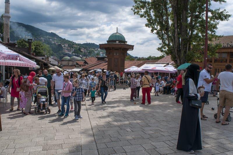 Sarajevo, Bosnia and Herzegovina, Bascarsija, Sebilj, fountain, old town, square, mosque, minaret, skyline, bazaar, market. Sarajevo, Bosnia and Herzegovina royalty free stock photos