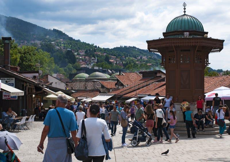Sarajevo, Bosnia and Herzegovina, Bascarsija, Sebilj, fountain, old town, square, mosque, minaret, skyline, bazaar, market stock photo