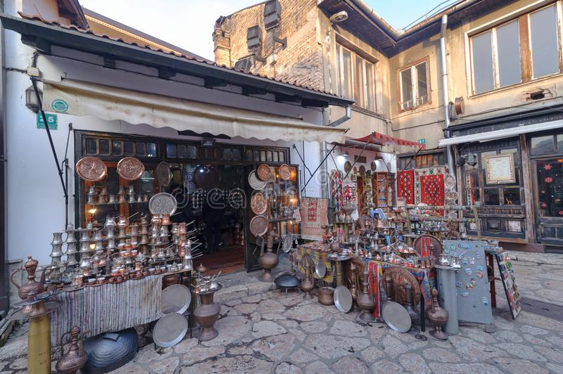 SARAJEVO, BOSNIA - JAN 26, 2018: Open Street touristic market in the old Town, Sarajevo in Bosnia-herzegovina. Old Style. Handmade copper products are very royalty free stock photo