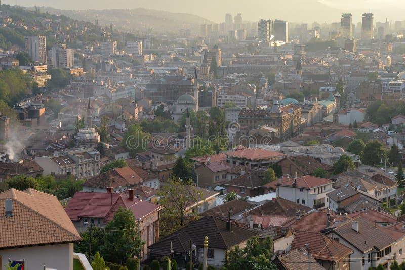 Sarajevo, Bosnia. View of the city at sunset stock photo