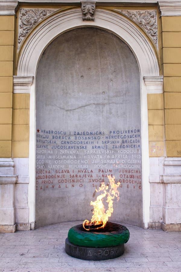 Sarajevo, Bosnia - voor altijd brandmonument royalty-vrije stock foto