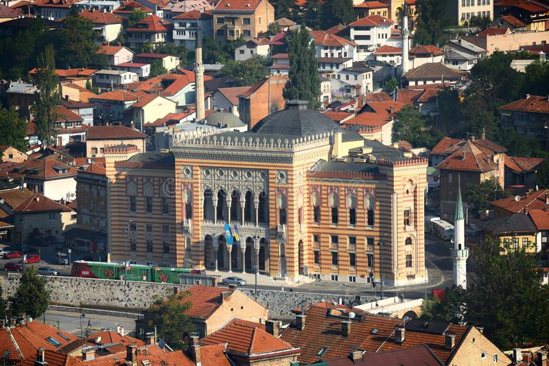 Sarajevo City Hall Known As Vijecnica, Bosnia And Herzegovina stock images