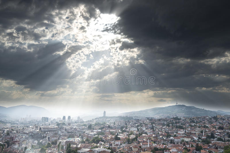 Sarajevo Cityscape. With dramatic sky stock images