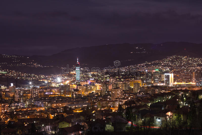 Sarajevo cityscape view at night royalty free stock photography