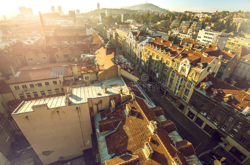 Sarajevo cityscape. View at Sarajevo streets and buildings from high viewpoint royalty free stock photo