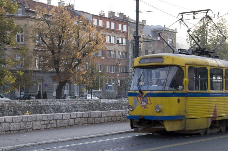 Sarajevo - gammal spårvagn fotografering för bildbyråer