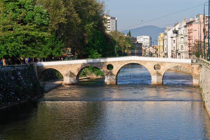 Sarajevo, old bridge on river royalty free stock images