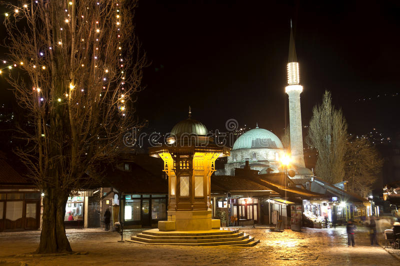 Sarajevo. Old town, historical fountain, the capital city of Bosnia and Herzegovina stock photos