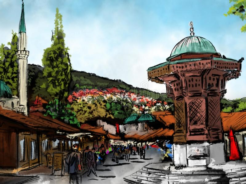 Sarajevo watercolor aquarell. Sarajevo old town, watercolor city, otoman architecture, the Sebilj in Sarajevo, aquarell of an city, Bosna and Hercegovina stock illustration