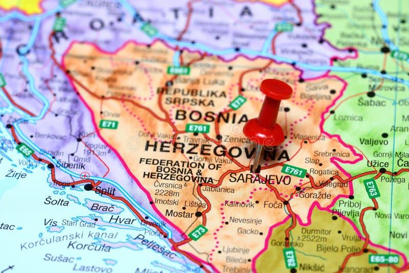 sarajevo mapa Sarajevo Pinned On A Map Of Europe Stock Image   Image of earth  sarajevo mapa