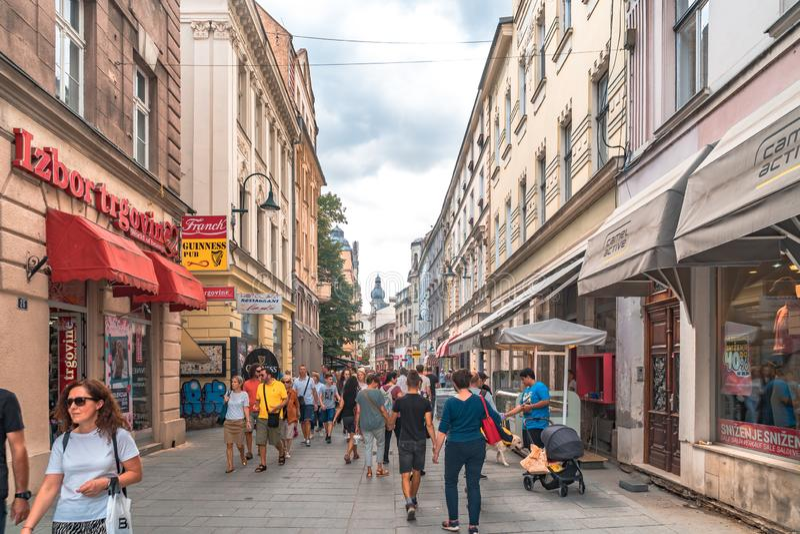 Sarajevo Streets in Bascarsija. SARAJEVO, BOSNIA - AUGUST 3, 2019 : Colorful Sarajevo streets in Bascarsija. The old town is most popular place for tourists stock photography