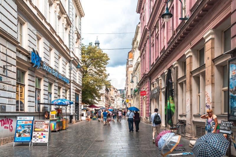 Sarajevo Streets in Bascarsija. SARAJEVO, BOSNIA - AUGUST 3, 2019 : Colorful Sarajevo streets in Bascarsija. The old town is most popular place for tourists stock photos