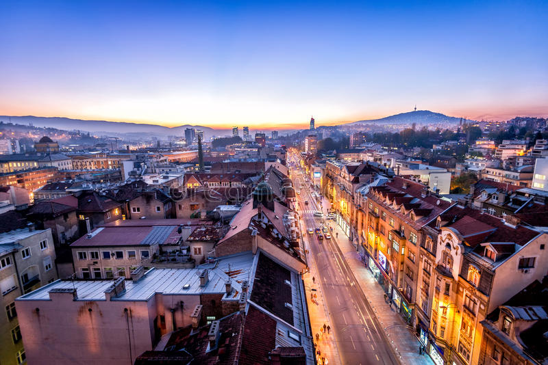 Sarajevo streets. View at Sarajevo streets from above at dusk royalty free stock images