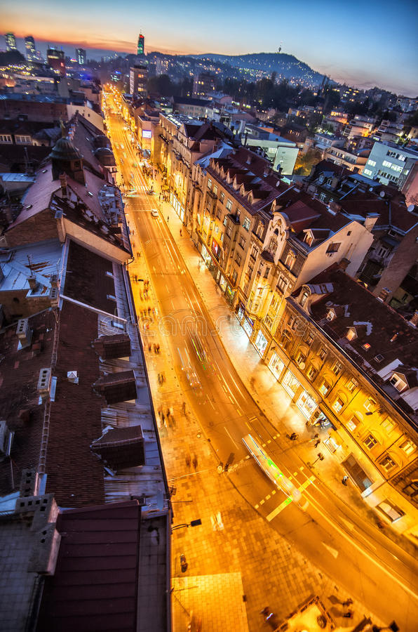 Sarajevo streets. View at Sarajevo streets from above at dusk royalty free stock photos