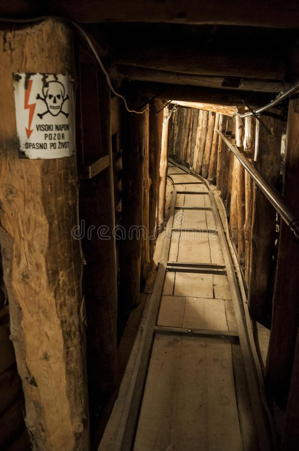 Sarajevo, tunnel, Sarajevo Tunnel Museum, Kolar family, Bosnian War, underground, the Siege of Sarajevo, rail royalty free stock image
