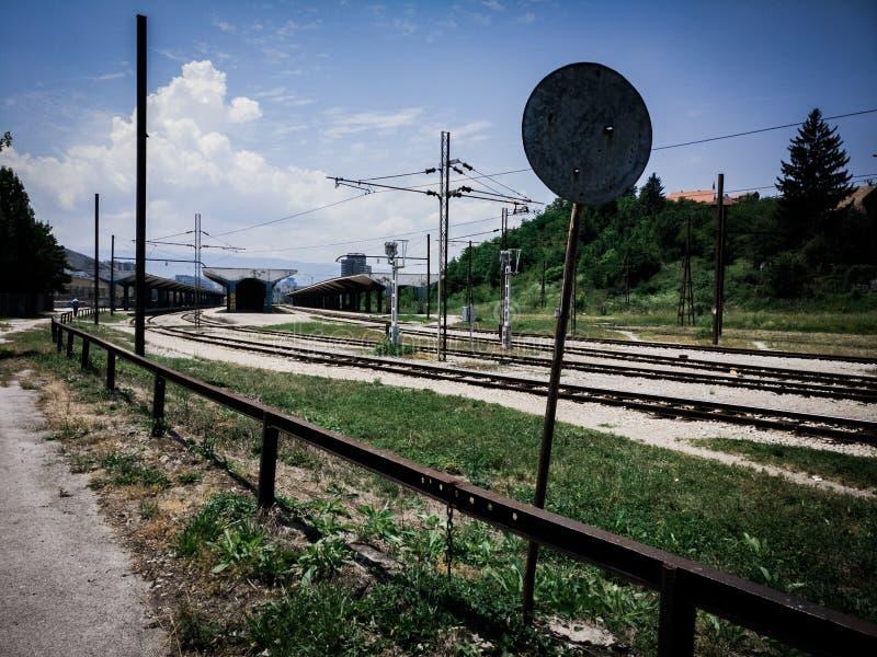 Sarajevo verließ Bahnhof lizenzfreies stockbild