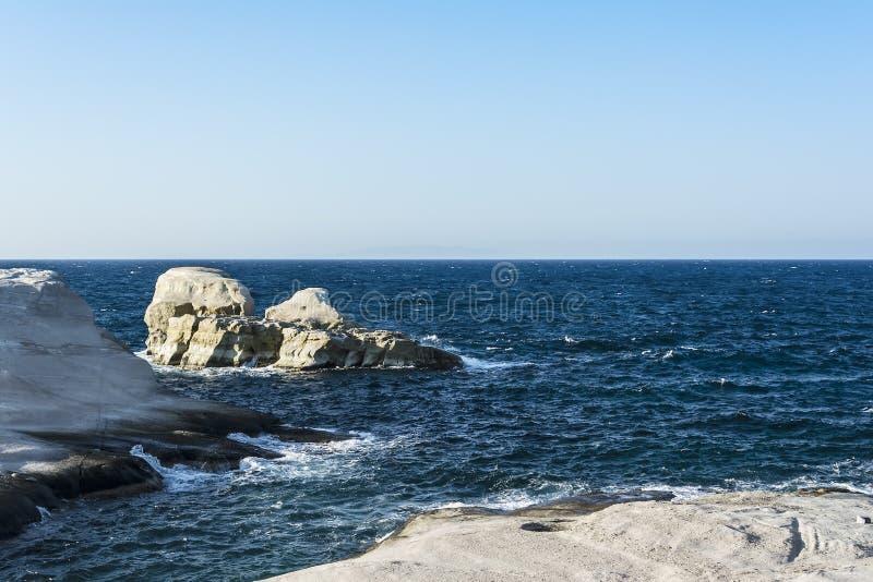 Sarakiniko beach view at the island of Milos in Greece stock image