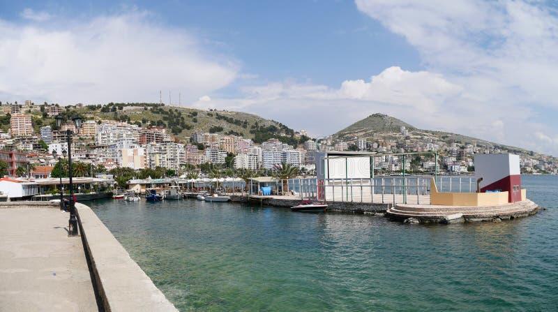 Saranda harbour, Albania stock photo