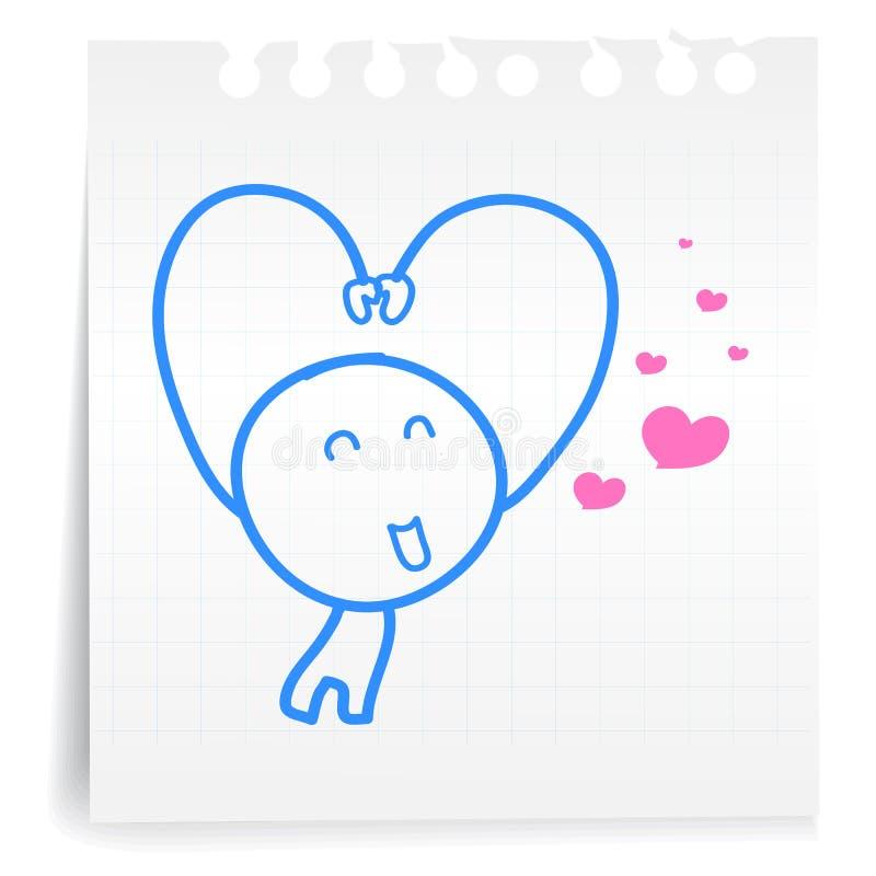 Sarang Hae Yo Love You Cartoon_on Paper Note Stock Image