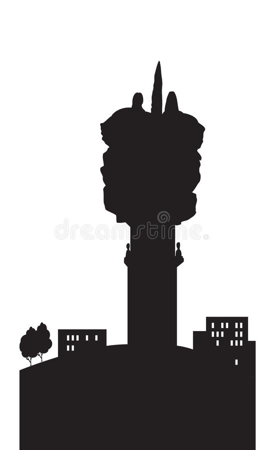 Saransk pomnikowi zawsze z Rosja sylwetką ilustracja wektor